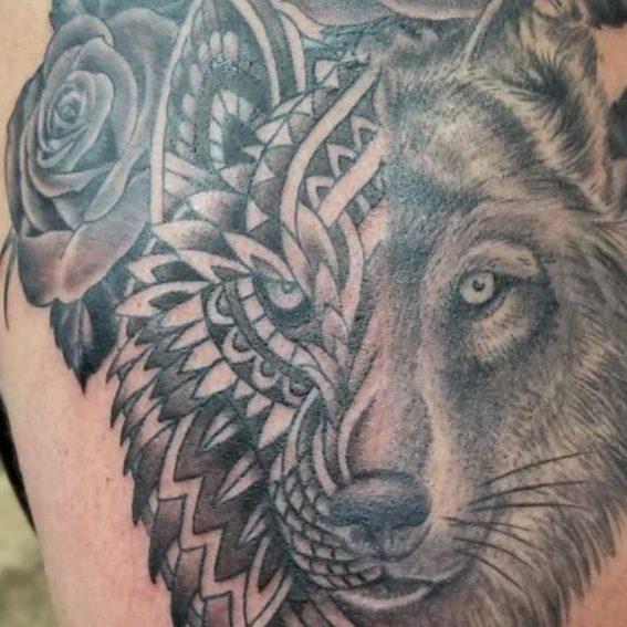 Tattoo of a wolf