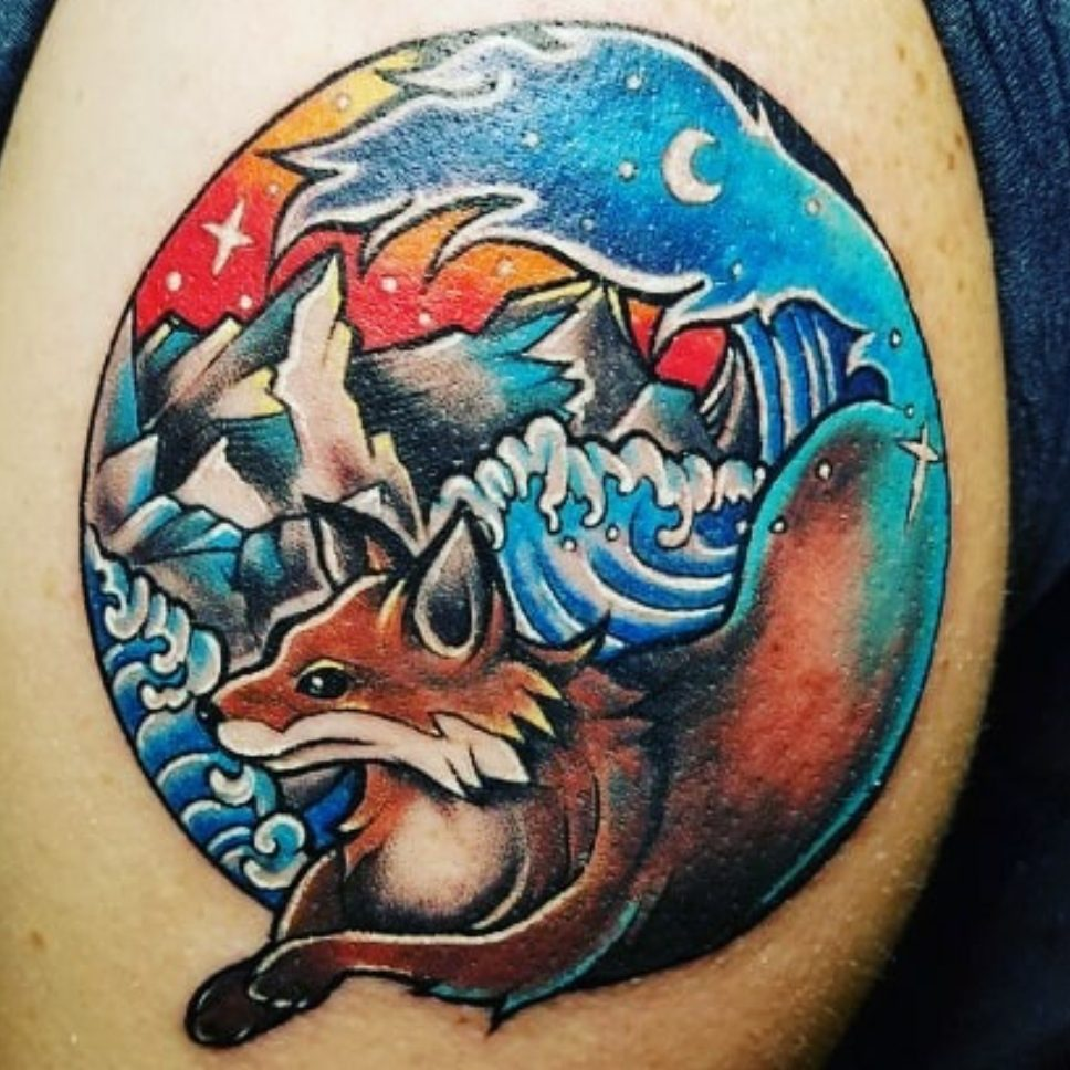 Tattoo of a fox