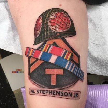 Tattoo of a helmet